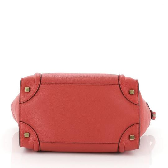 Céline Leather Satchel in Red Image 3