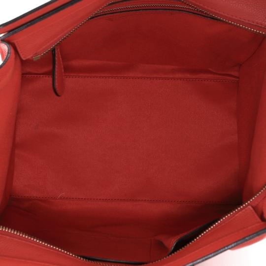 Céline Leather Satchel in Red Image 4