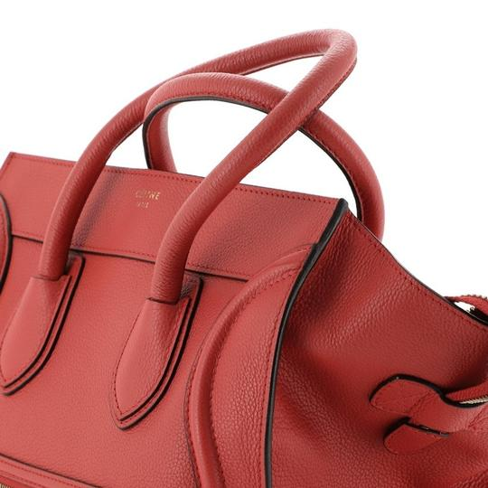 Céline Leather Satchel in Red Image 5