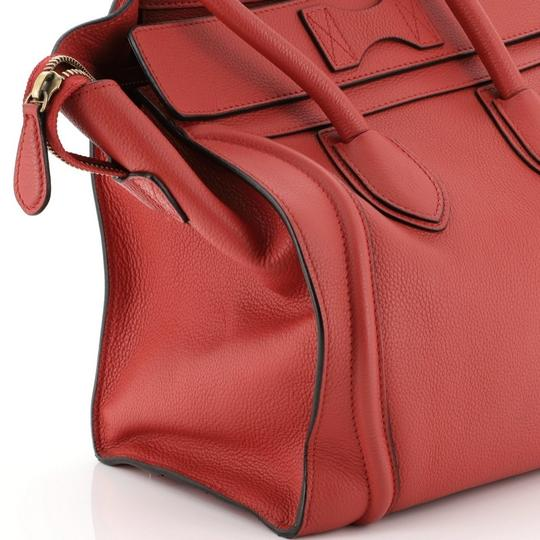 Céline Leather Satchel in Red Image 6