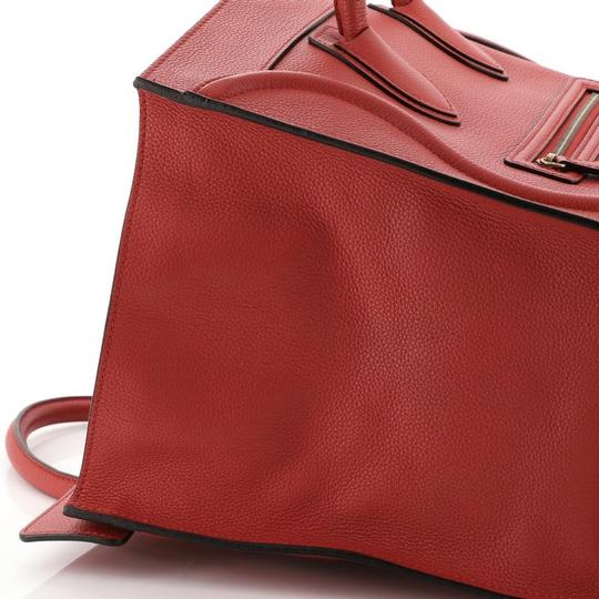 Céline Leather Satchel in Red Image 7