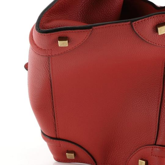 Céline Leather Satchel in Red Image 8