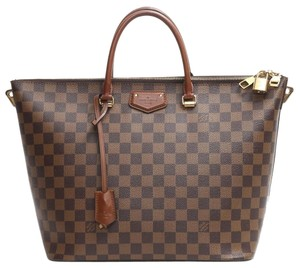 Louis Vuitton Checkered Gold Top Handles Shoulder Strap Tote in Brown