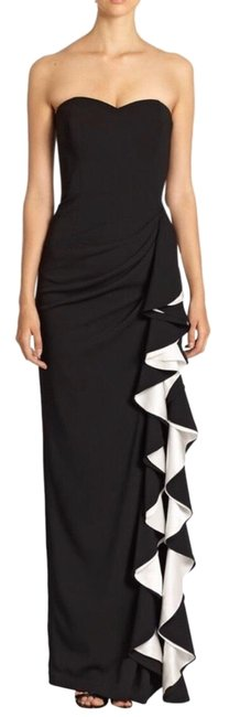 Item - Black and White Ruffles Long Formal Dress Size 6 (S)