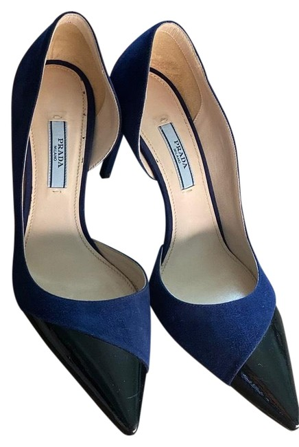 Item - Navy Blue Suede with Black Patent Leather Contrast Camoscio + Vernic Pumps Size EU 37.5 (Approx. US 7.5) Narrow (Aa, N)