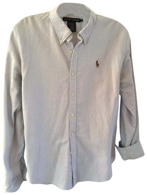 Item - Blue and White Stripe Slim Fit Button-down Top Size 10 (M)