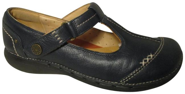 Item - Navy Blue Un Structured Leather T Strap Mary Jane Flats Size US 8.5 Wide (C, D)