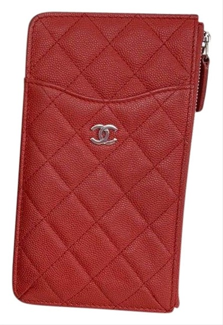 Item - Boy Zip Pouch Quilted Caviar Long Red Leather Clutch