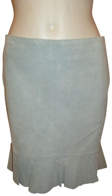 Item - Light Blue Suede Ruffled Skirt Size 6 (S, 28)