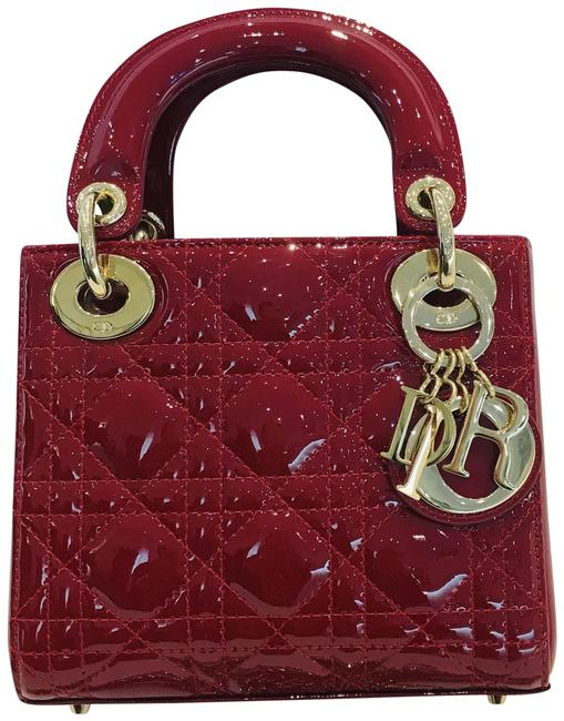 Item - Lady Cannage Mini Cherry Red Patent Leather Shoulder Bag