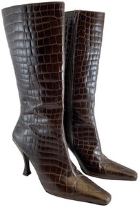 Via Spiga Crocodile Embossed Heels Brown Boots