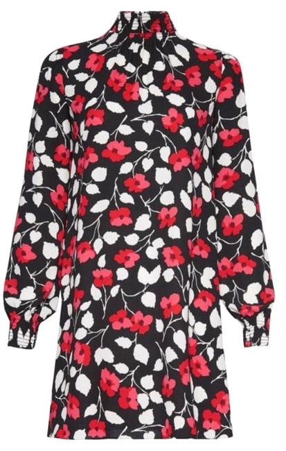 Item - Black with White and Red Flowers Poppy Short Casual Dress Size 2 (XS)