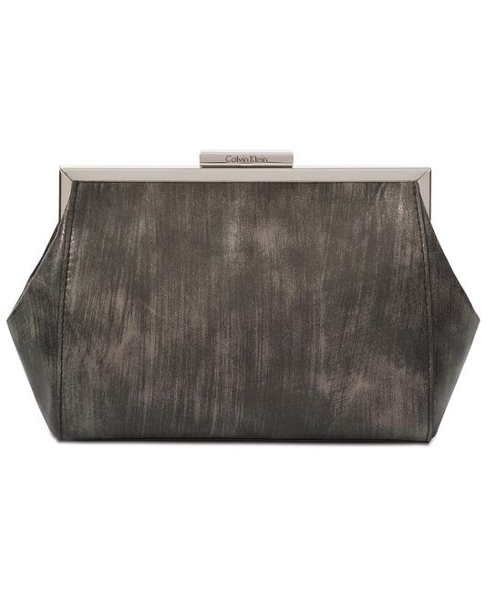 Item - Brushed Metallic Pouch Grey & Silver Faux Leather Cross Body Bag