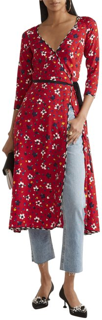 Item - Red Collection Floral Silk Long Sleeve Midi Siz Mid-length Casual Maxi Dress Size 2 (XS)