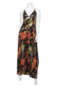 Red & Gold Jaquard Maxi Dress by Haney