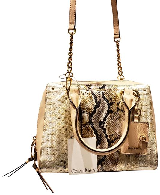 Item - Snakeskin Cream & Gold Tones Faux Leather Satchel