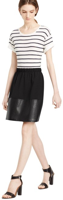 Item - Black Women's Contrast Band Leather New M Skirt Size 8 (M, 29, 30)