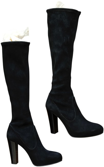 Gianvito Rossi Black Stretch Suede Platform Boots/Booties Size EU 38 (Approx. US 8) Regular (M, B) Gianvito Rossi Black Stretch Suede Platform Boots/Booties Size EU 38 (Approx. US 8) Regular (M, B) Image 1