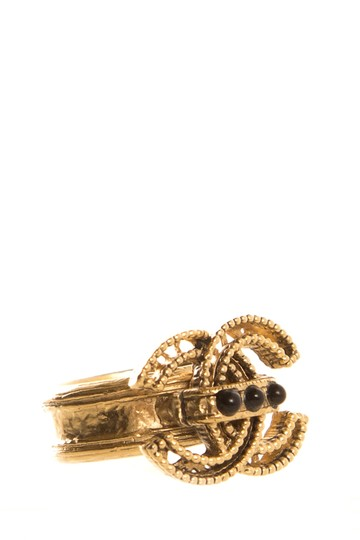 Chanel CHANEL Gold Tone Ring SZ 7 Image 1