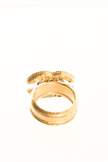 Chanel CHANEL Gold Tone Ring SZ 7 Image 2