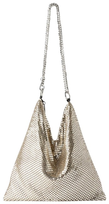 Item - Metallic Mesh Silver Metal Cross Body Bag