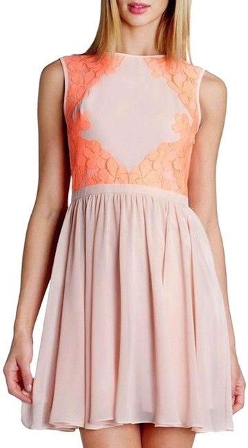 """Item - Nude Pink """"Vember"""" Nude/Pink Chiffon Fit and Flare Small Mid-length Cocktail Dress Size 2 (XS)"""