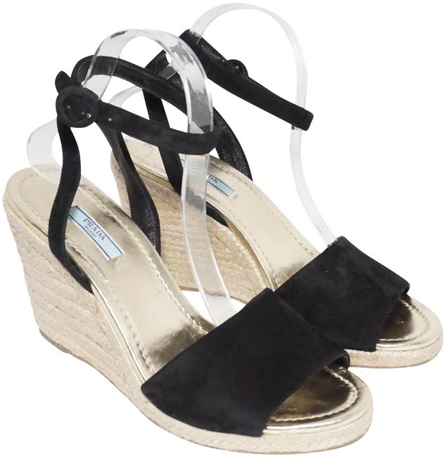 Item - Black Gold Espadrille Braided Jute Wedge Sandal Suede 41 Platforms Size US 11 Regular (M, B)