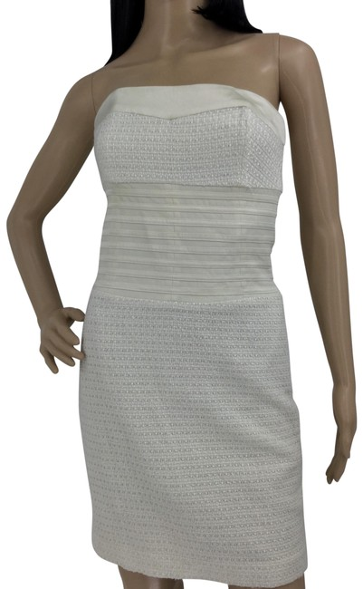 Item - Ivory Strapless Silk Short Night Out Dress Size 6 (S)