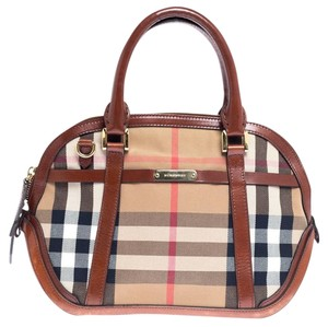 Burberry Leather Fabric Canvas Satchel in Beige