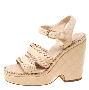 Chanel Quilted Leather Chain Ankle Strap Wedge Beige Sandals
