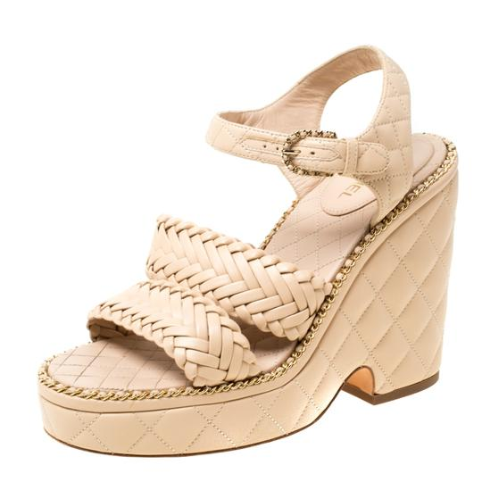 Chanel Quilted Leather Chain Ankle Strap Wedge Beige Sandals Image 1