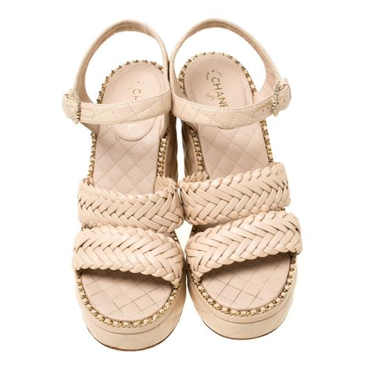 Chanel Quilted Leather Chain Ankle Strap Wedge Beige Sandals Image 2