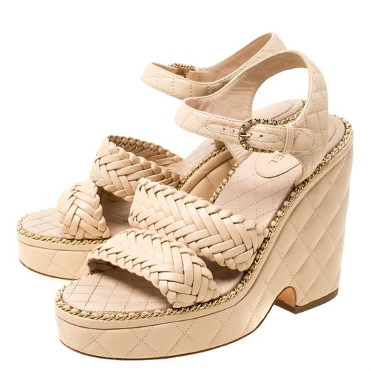 Chanel Quilted Leather Chain Ankle Strap Wedge Beige Sandals Image 3