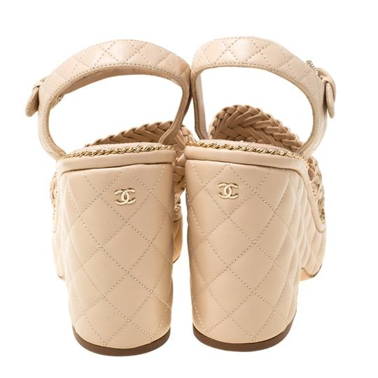 Chanel Quilted Leather Chain Ankle Strap Wedge Beige Sandals Image 4