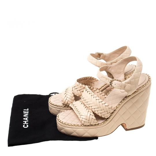 Chanel Quilted Leather Chain Ankle Strap Wedge Beige Sandals Image 7