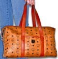 MCM Visetos Duffel Tote Satchel in Cognac Brown Image 1