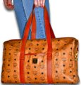 MCM Visetos Duffel Tote Satchel in Cognac Brown Image 2