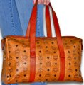MCM Visetos Duffel Tote Satchel in Cognac Brown Image 3
