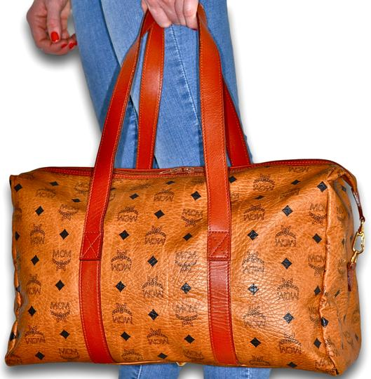 MCM Visetos Duffel Tote Satchel in Cognac Brown Image 4