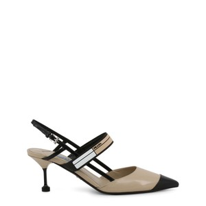 Prada Leather Slingback Sandal Heel Brown Pumps