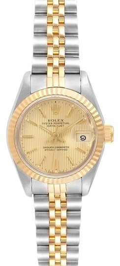 Preload https://img-static.tradesy.com/item/26272001/rolex-champagne-box-datejust-steel-yellow-gold-tapestry-dial-ladies-69173-watch-0-1-540-540.jpg