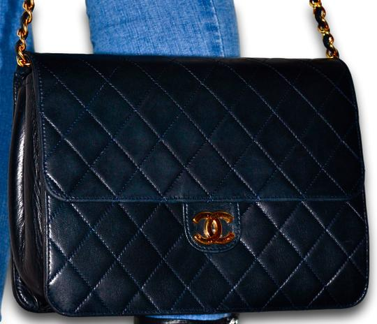 Chanel Quilted Lambskin Leather Clutch Shoulder Bag Image 1