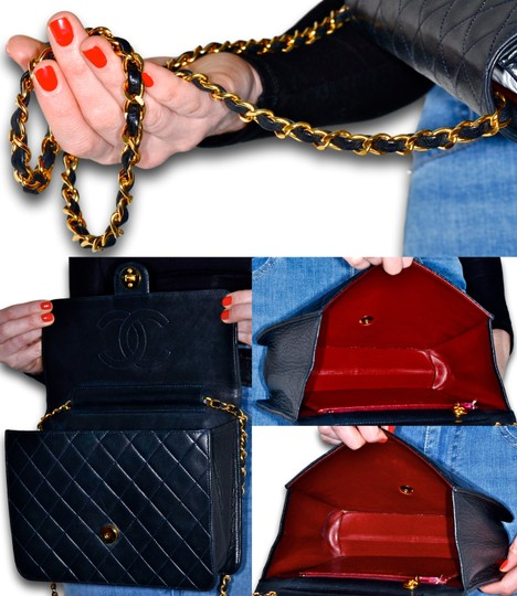 Chanel Quilted Lambskin Leather Clutch Shoulder Bag Image 10