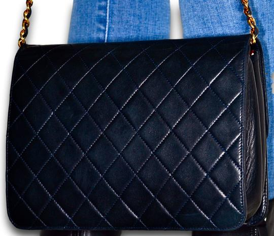 Chanel Quilted Lambskin Leather Clutch Shoulder Bag Image 4