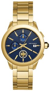 Tory Burch Collins gold/navy chronograph watch