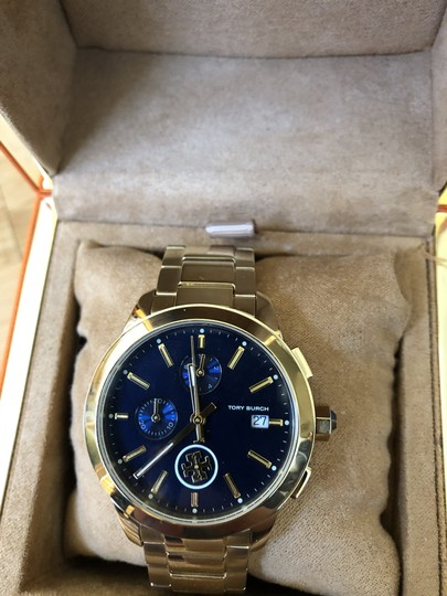 Tory Burch Collins gold/navy chronograph watch Image 1