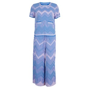 Chanel Chanel Blue Jacquard Knit Top And Culottes Set S