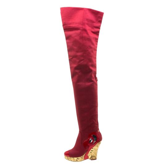 Chanel Patent Leather Canvas Wedge Platform Red Boots Image 1