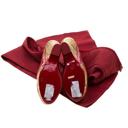 Chanel Patent Leather Canvas Wedge Platform Red Boots Image 5