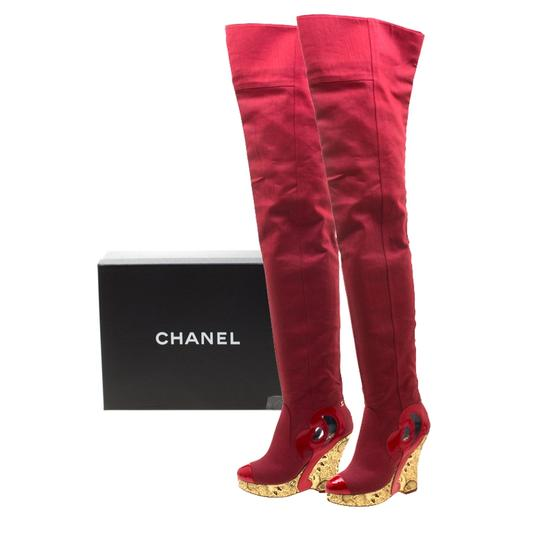 Chanel Patent Leather Canvas Wedge Platform Red Boots Image 7